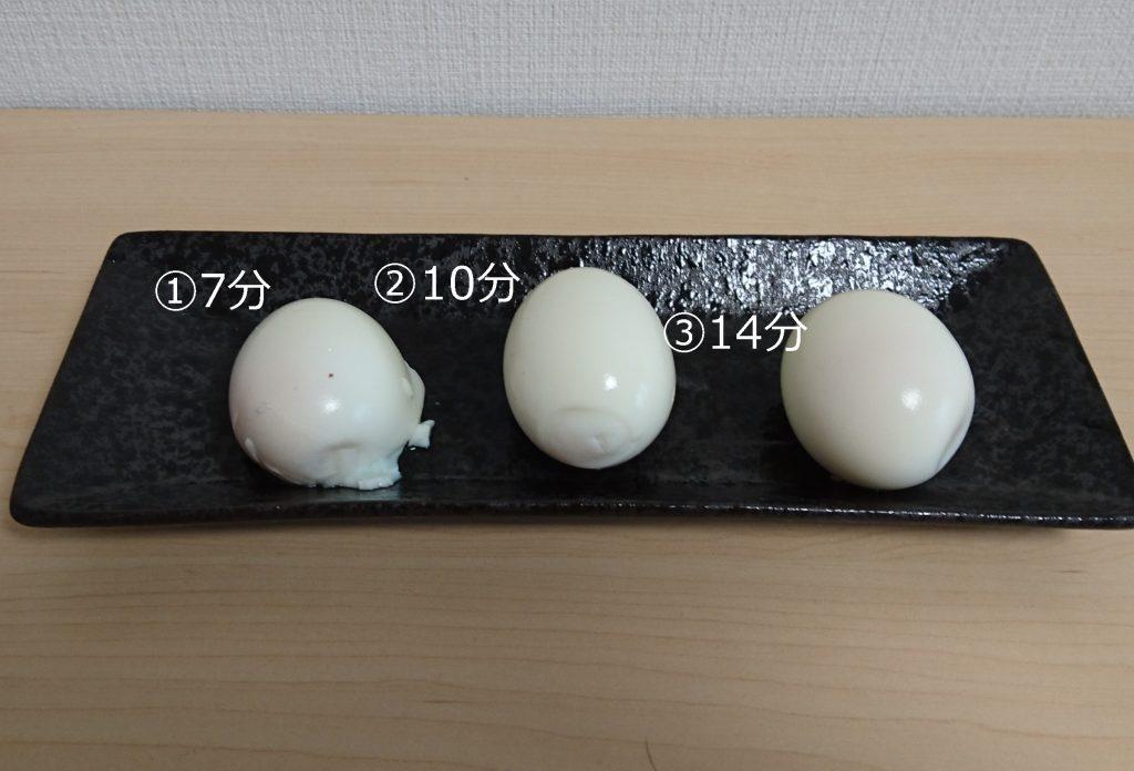 番号が振られたゆで卵の写真