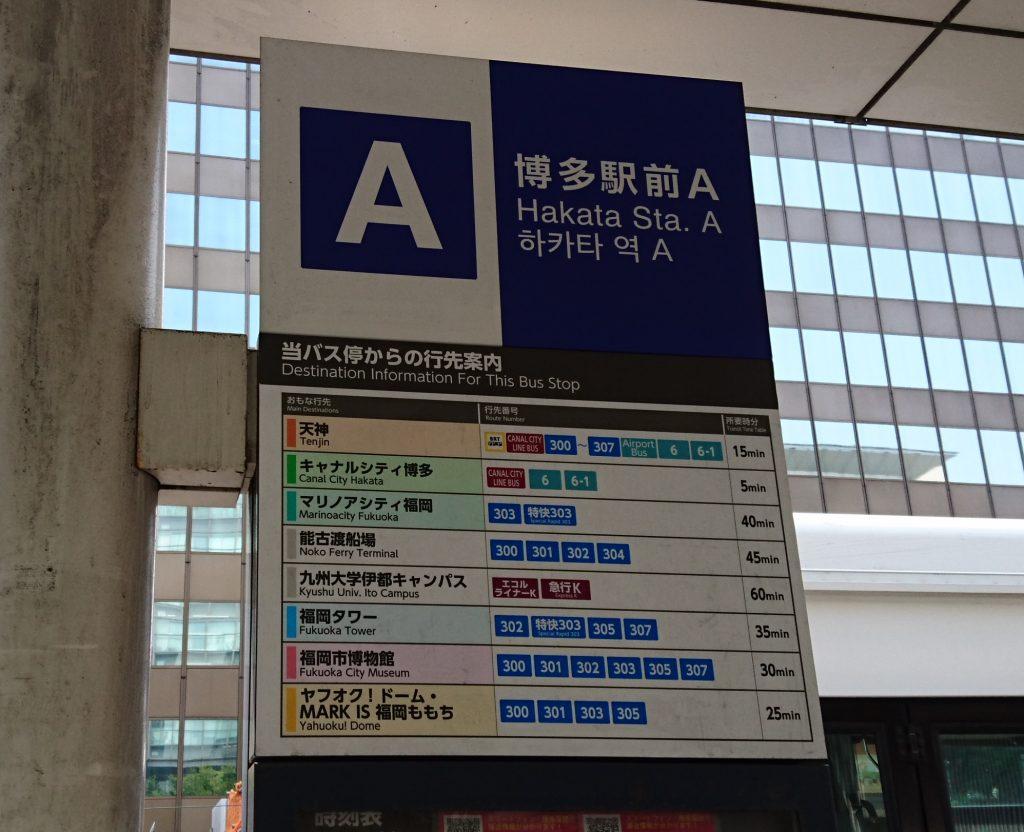 駅前Aの各バスの行先を示した案内板