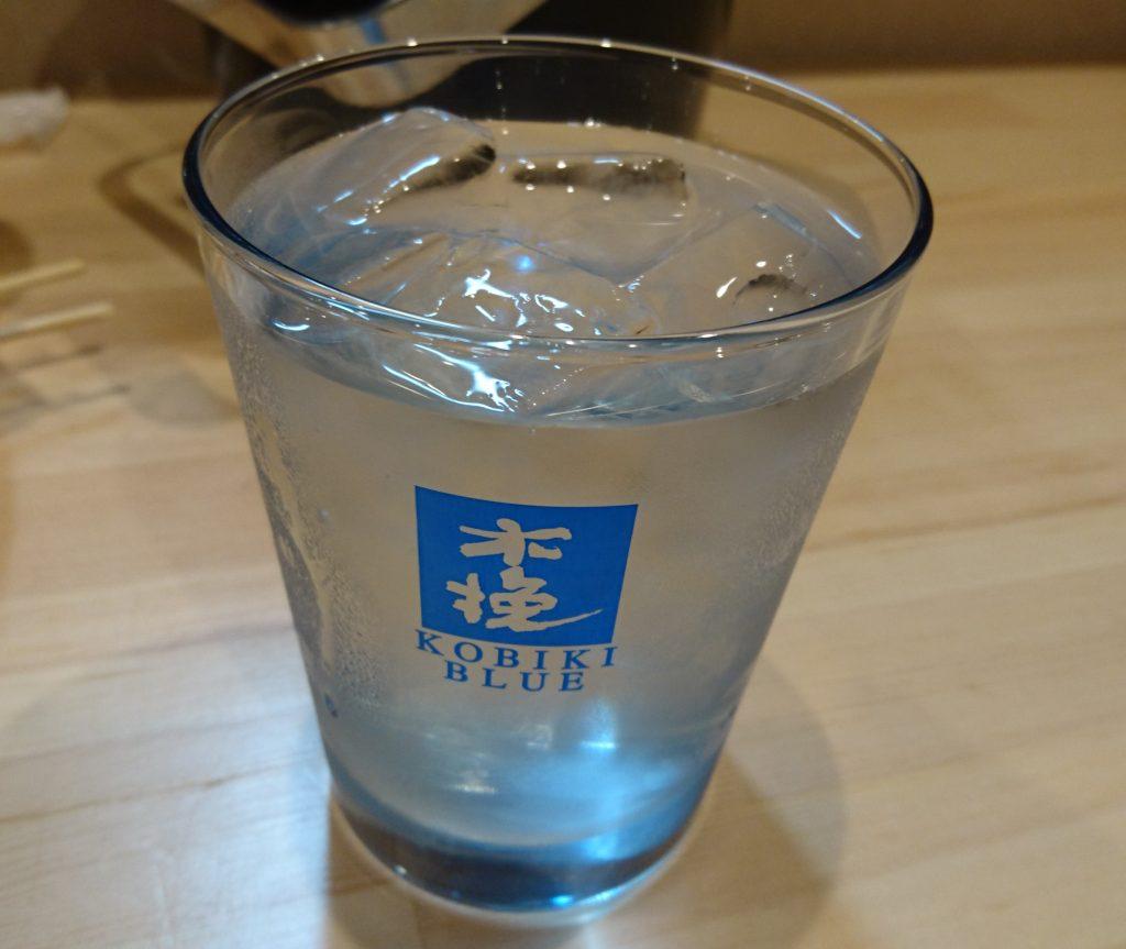 木挽きブルー 水割り グラス