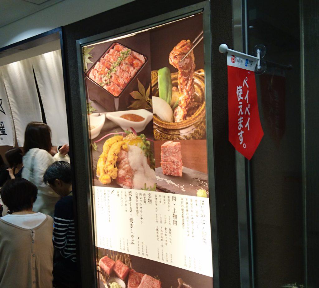 バックライト付きの看板 メニューや料理が描かれている