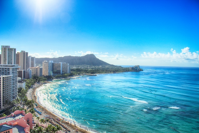 ハワイ 上空からの撮影