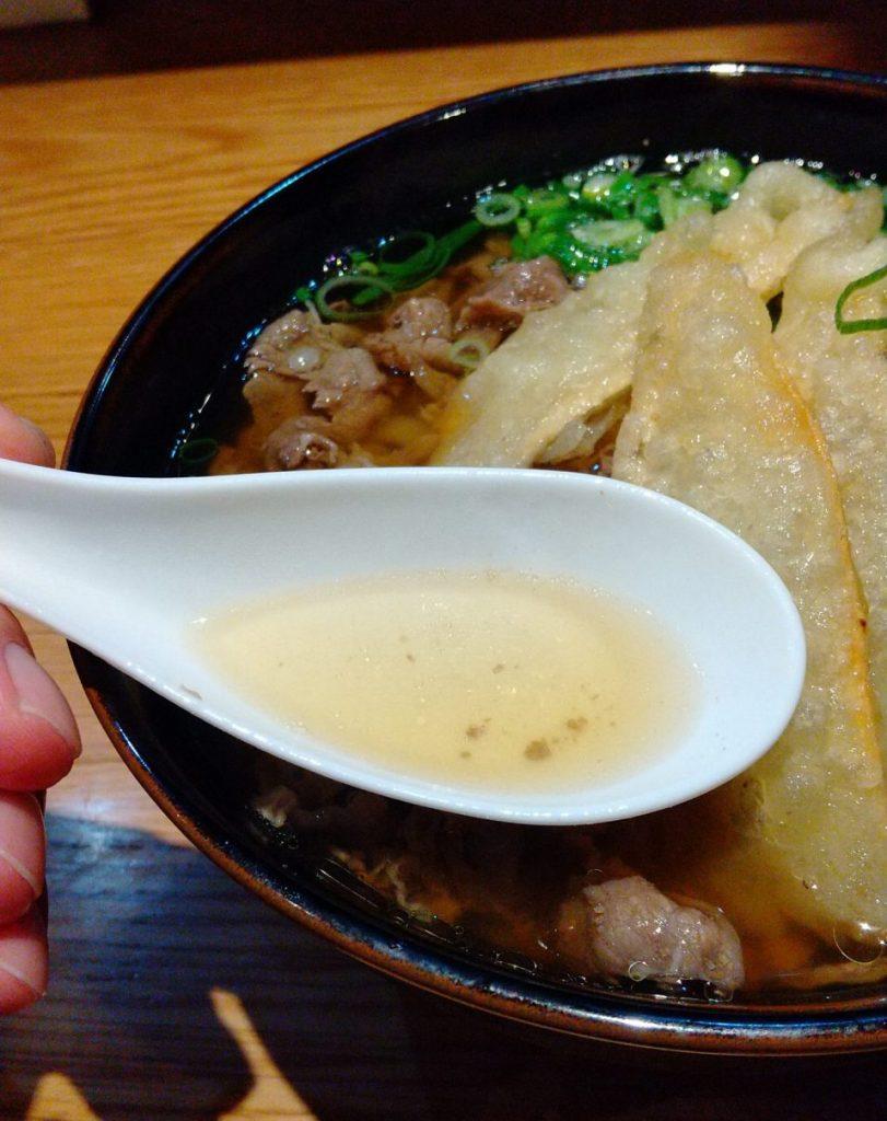 肉ごぼう天うどん スープ
