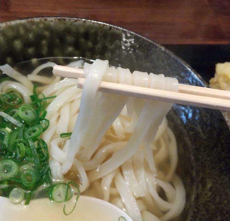 うどん麺を箸で持ち上げる 泰吉うどん