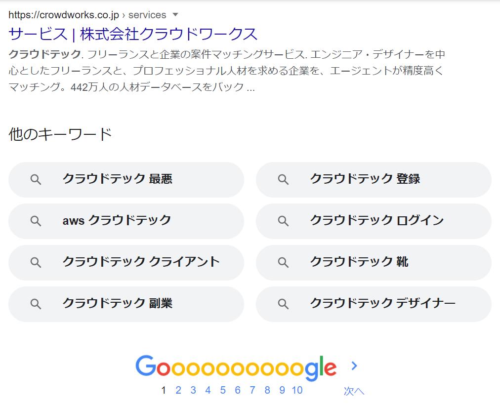 クラウドテック 検索結果に表示される「他のキーワード」