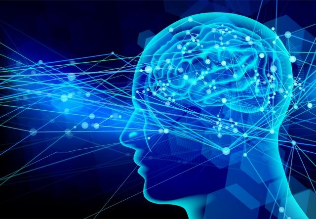 脳神経伝達のイメージ 青い光